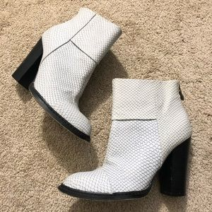 White Grey Snake Print Scale Booties